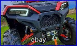 Polaris Sportsman 570 850 1000 450 LED headlights with custom harness halo OEM